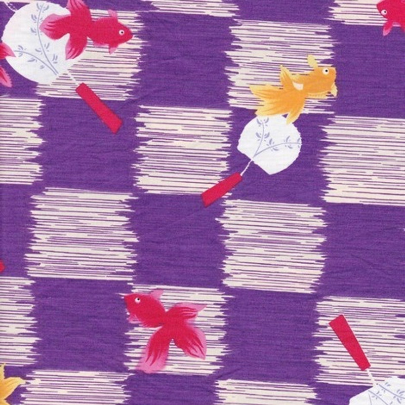 Yukata Printed Cotton Fabric Multi-Coloured TY-0543