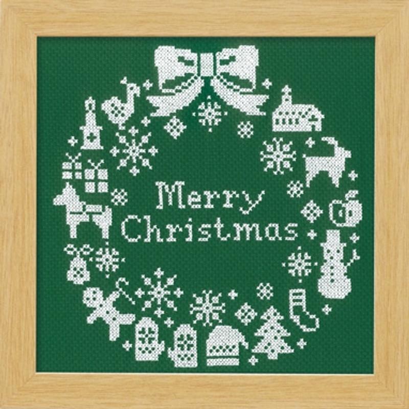 Green Christmas Wreath Cross-stitch X-101