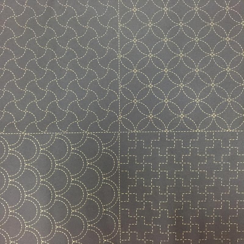 Stencilled Sashiko Sampler Panel Black