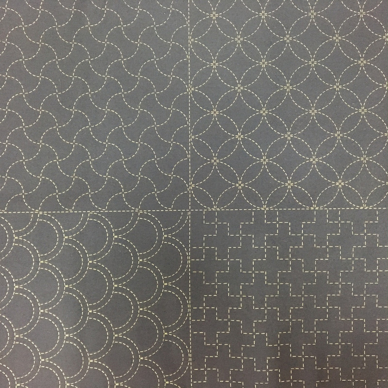Stencilled Sashiko Sampler Panel Black