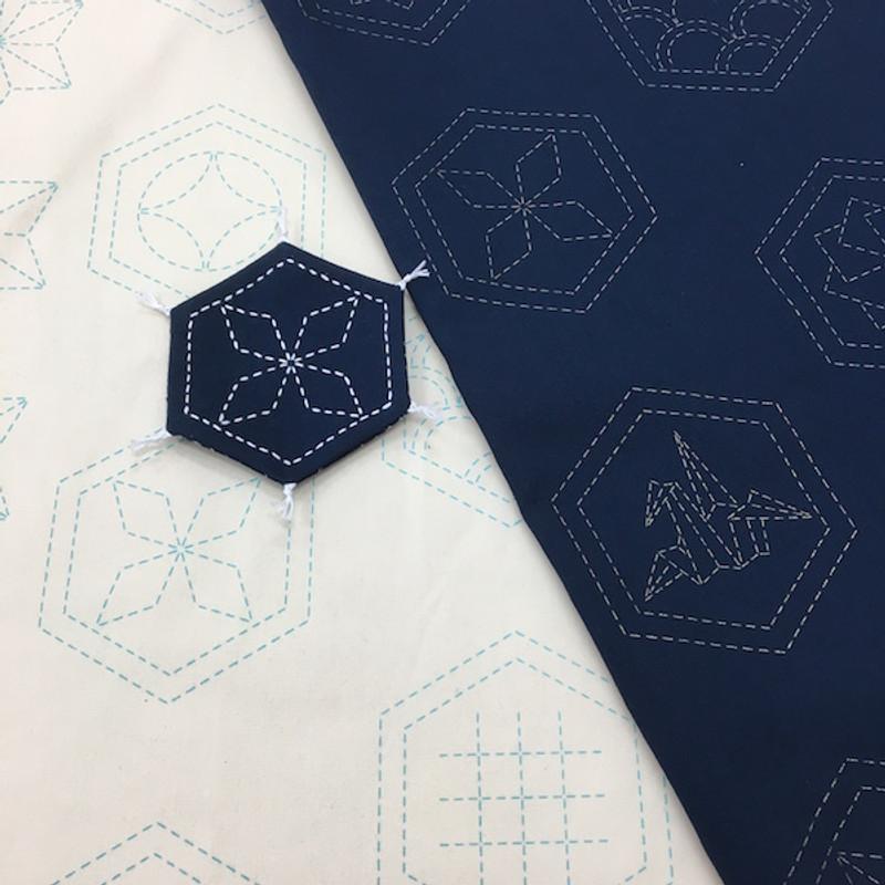 Stencilled Sashiko Fabric Many Patterns Navy Blue SSF-20