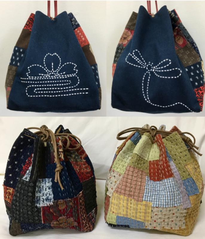 Sashiko Kinchaku Drawstring Bag Pattern PBDB-KIN17