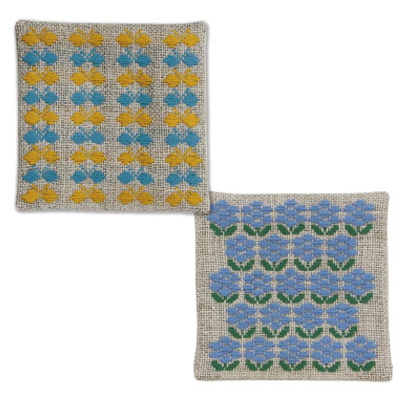 Kogin Kit 2 Coasters Yellow/Blue KK-61