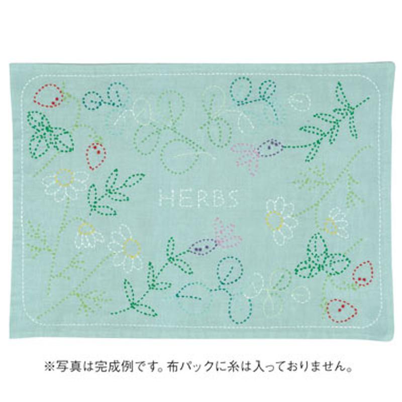 Sashiko Placemat Herbs L-4001