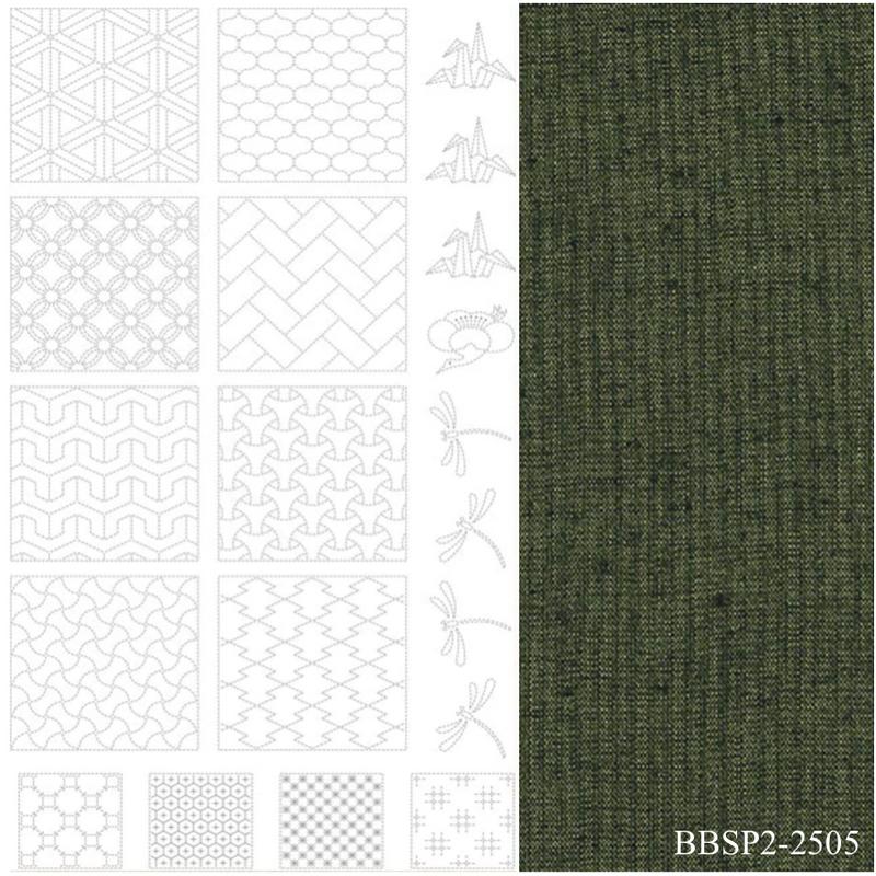 Sashiko Panel #2 - Green - BBSP2-2505