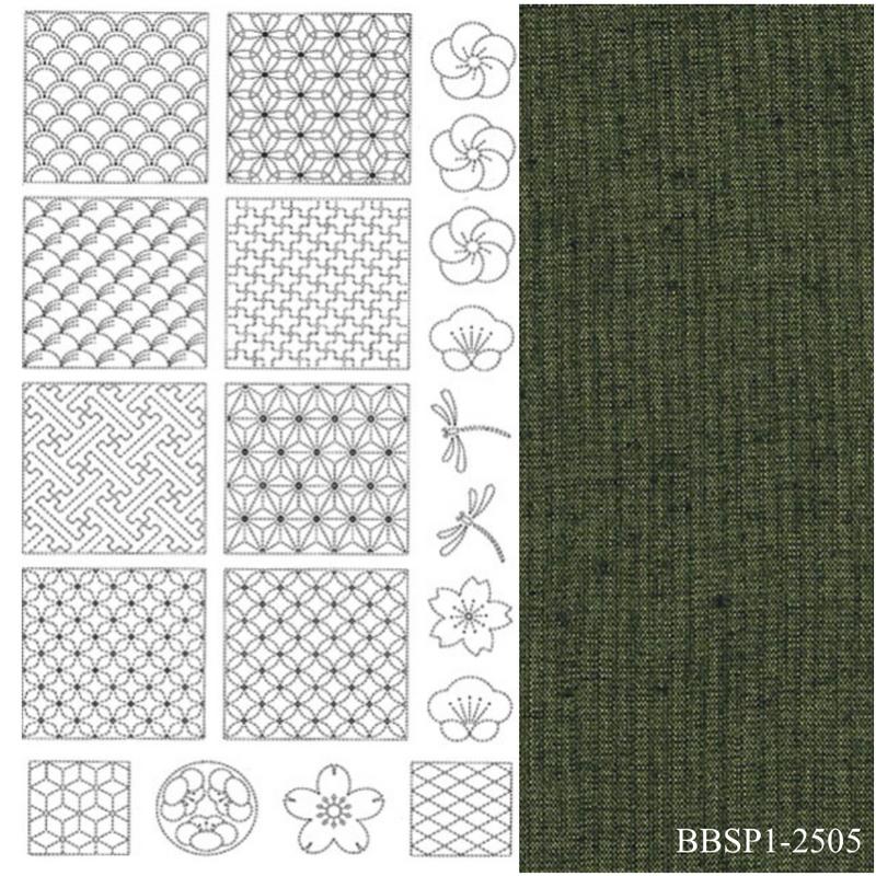Sashiko Panel #1 - Green - BBSP1-2505