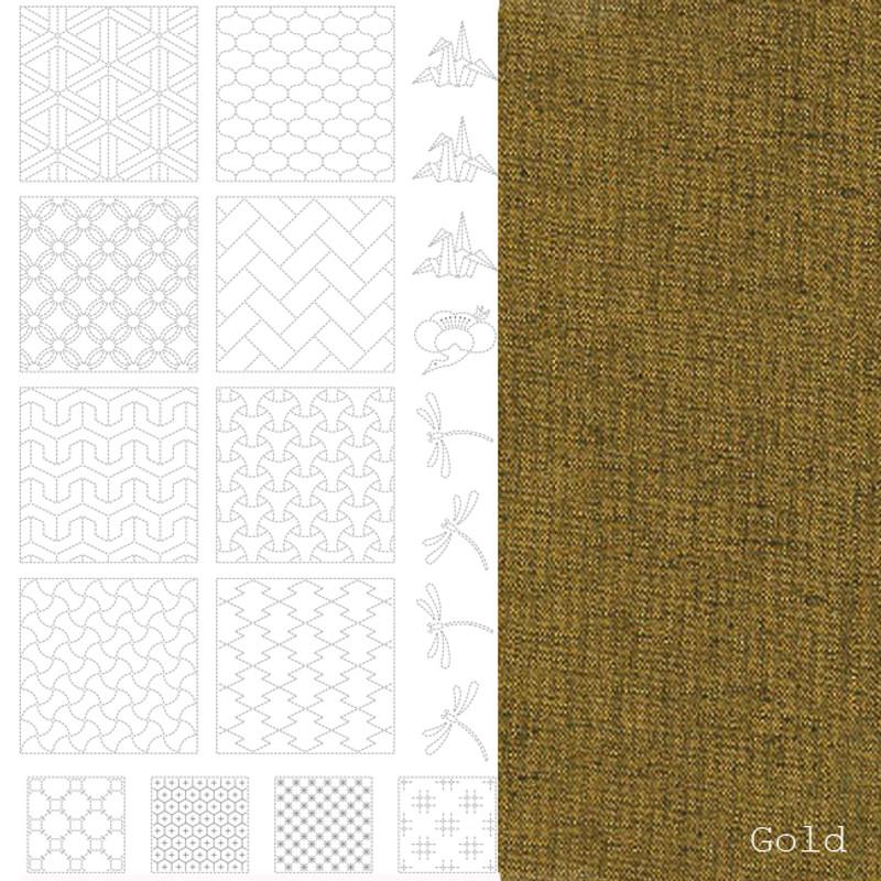 Sashiko Panel #2 - Gold - BBSP2-2007