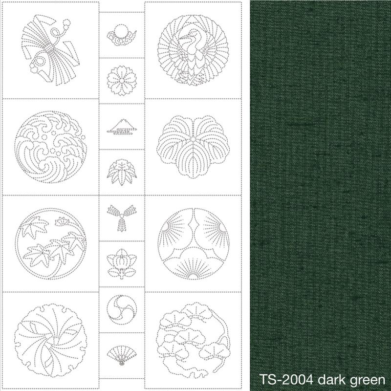 Susan Briscoe Sashiko Panel Dark Green SBSP-2004