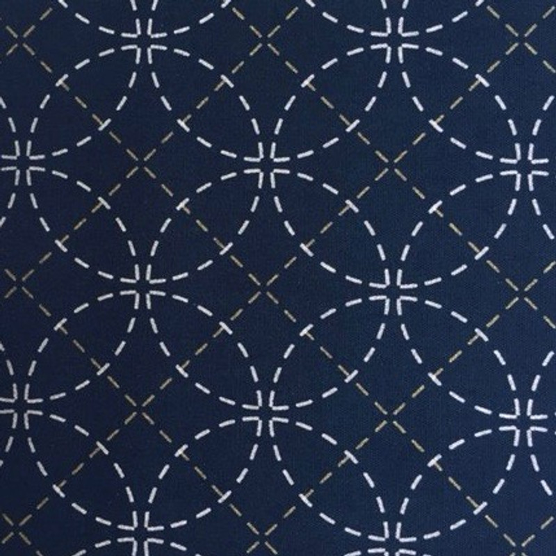 Interlocking Circles Navy Blue Pre-stencilled Sashiko Fabric