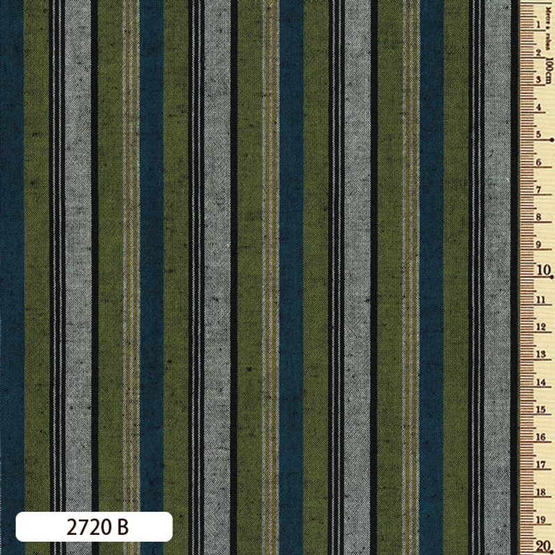 Woven Striped Cotton Thick Multi Bright Blue/Green 2720B