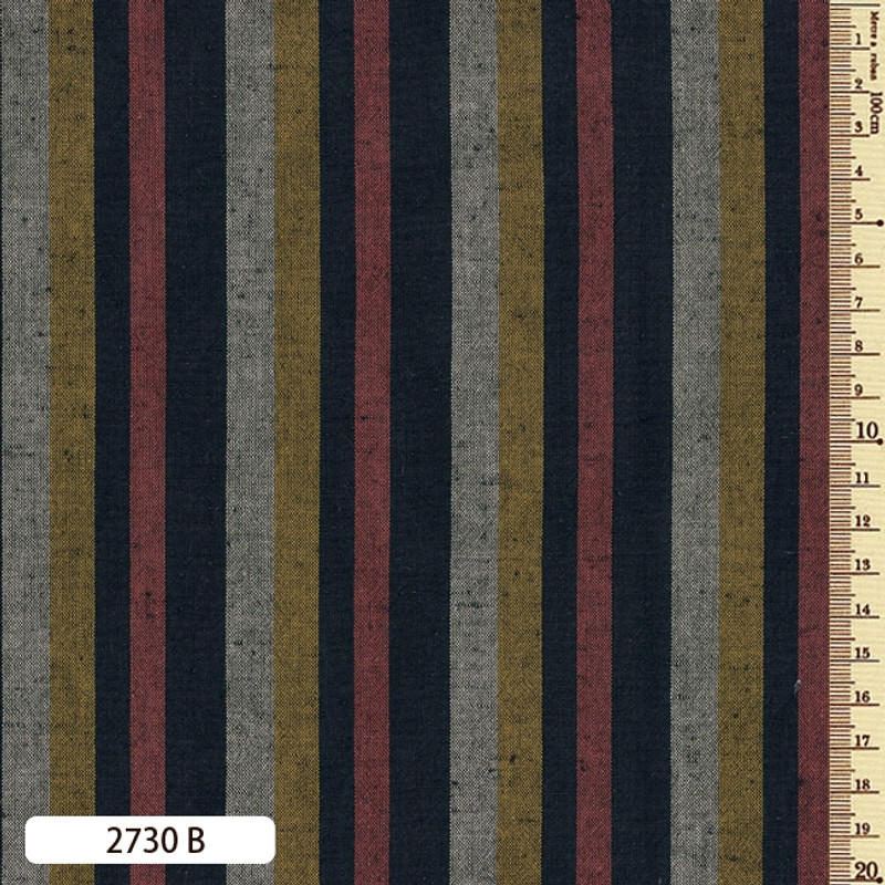 Woven Striped Cotton Thick Multi Rust/Mustard 2730B