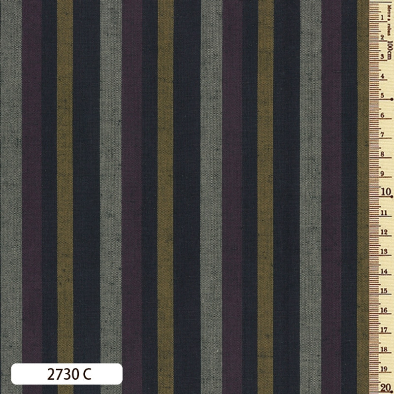 Woven Striped Cotton Thick Multi Purple/Mustard 2730C