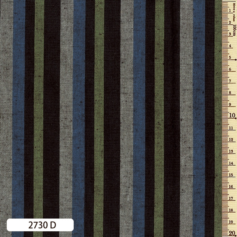 Woven Striped Cotton Thick Multi Blue/Muted Green 2730D