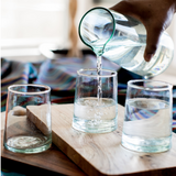 Set of 6 aqua tapered handblown glasses made in Morocco from 100% recycled glass