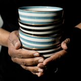 Ceramic bowls handpainted blue and black with 12K gold rim