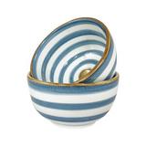 Ceramic bowl handpainted blue with 12K gold rim