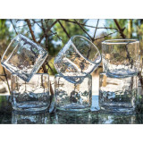 Set of six handblown clear tumblers made from recycled glass in Mexico