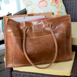 Leather tote oversized vintage brown made in Ethiopia