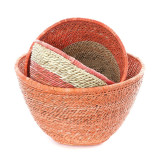 Set of three nesting baskets in salmon and natural