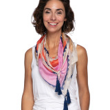 100% silk scarf in coral with tassels made in India