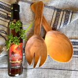 Largesse salad servers spork and spoon wild olive wood handmade in Kenya