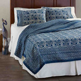 Blue cotton quilted throw block-printed by hand in India