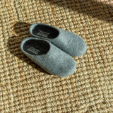 Felted wool slippers grey low back made in Kyrgyzstan