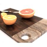 Stone and wood serving board handmade in Guatemala