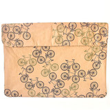 Natural paper laptop sleeve with bicycle design made in South Africa