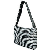 Metallic purse black with soda can tabs and crochet made in Brazil