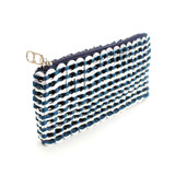 Metallic clutch purse black with soda can tabs and crochet made in Brazil