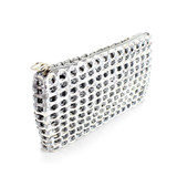 Metallic clutch purse silver with soda can tabs and crochet yarn made in Brazil