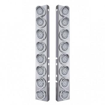 "Peterbilt Stainless Front Air Cleaner Bracket w/ Sixteen 9 LED 2"" Reflector Lights & Visors"