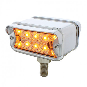 10 LED Dual Function T Mount Reflector Double Face Light w/ Horizontal Visor - Amber & Red LED