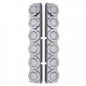 "S.S. Pb 12 Led Cutout Rear A/C Bracket W/2"" 9 Red Led Flat Reflector Light & Cr. Pl. Bezel - Clear Lens"