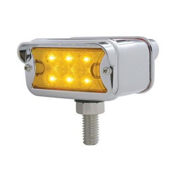 6 LED Dual Function T Mount Double Face Light w/ Horizontal Visor - Amber & Red LED