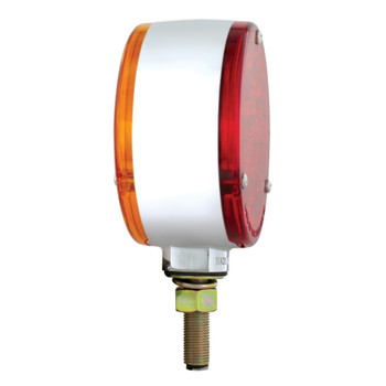 18 Amber/Red Led Chrome Housing Reflector Double Face Turn Signal Light - Amber Red Lens