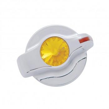 Chrome Plastic 2006+ Peterbilt Signature A/C Control Knob W/ Diamond - Amber