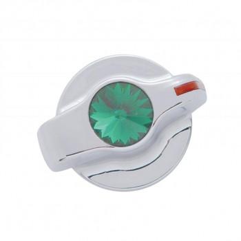 Chrome Plastic 2006+ Peterbilt Signature A/C Control Knob W/ Diamond - Green