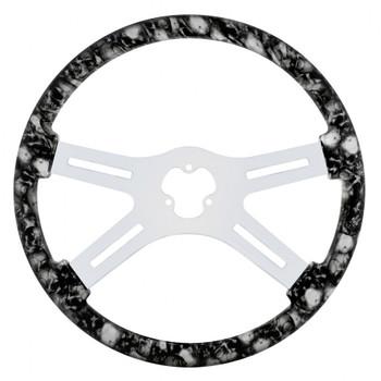 """18"""" Skull Steering Wheel - White"""