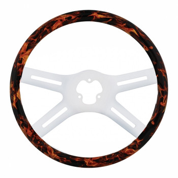 "18"" Flame Chrome Steering Wheel - 4 Spokes"