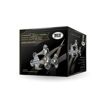 Compact Extra Loud 3 Bell Chrome Train Horn (130-135 Decibels)