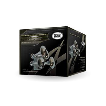 Compact Extra Loud 4 Bell Chrome Train Horn (140-145 Decibels)