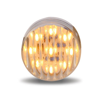 "2 1/2"" Round Clear Ribbed Amber LED (13 Diodes)"""