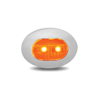 Mini Oval Button Dual Revolution Amber/Red LED