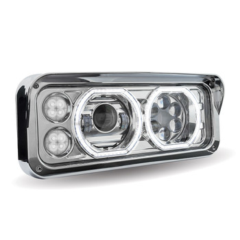 Rectangular Halo LED Projector Headlight Assembly - Chrome