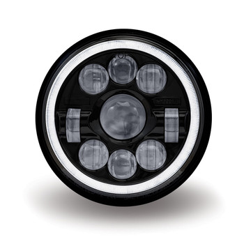 "7"" Round Slim Back LED Headlight - Black Housing (1320 Lumens)"