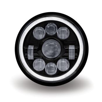 "7"" Round Slim Back LED Headlight - Black Housing (1320 Lumens)"
