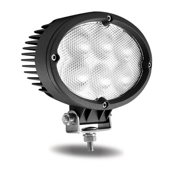 Universal White Cree Oval Flood Work Light - Clear Lens - Black Housing (6 Diodes) - 5400 Lumens