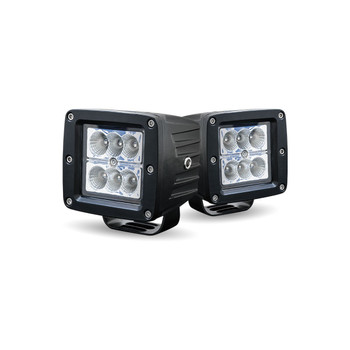 Universal Square Worklamp - 1440 Lumens - Sold by the Pair with Wire Harness (6 Diodes)